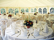 Marquee with tables set inside